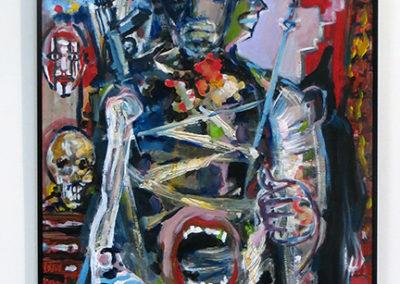 "Steven Epstein -""The Warrior's Bin"" , Acrylic  on Hardboard"