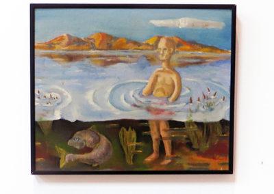 "Peter Arakawa  -""Man and Carp"" oil on canvas board"