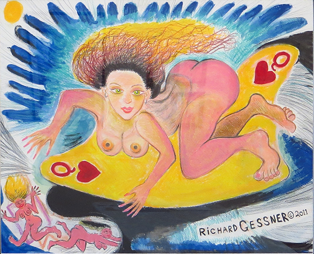 """Richard Gessner  – """"Surf Goddess """" colored pencil and watercolor on paper"""