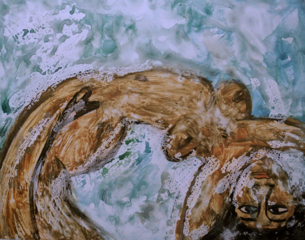 "Theresa DeSalvio ""Pompeii"" graphite, gouache on Yupo paper"