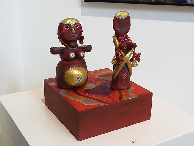 "Kristina Lloyd  – ""Two Goddess Statuettes"" hand painted ceramics, beads"