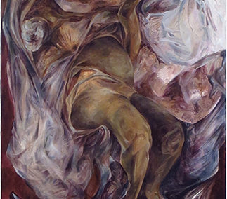 "Ola Aldous  – ""Mother and  Child No. 2"" oil on canvas"