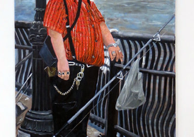 "Michele Guttenberg  -""Fisherman in Red Shirt"" oil on canvas"