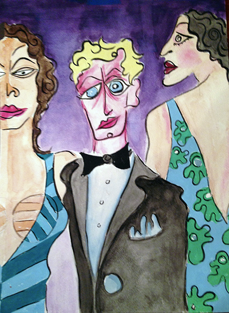 """Sam Caponegro -""""Handsome Henri/or Sometimes Boys Are Just Prettier Than Girls"""" watercolor print"""