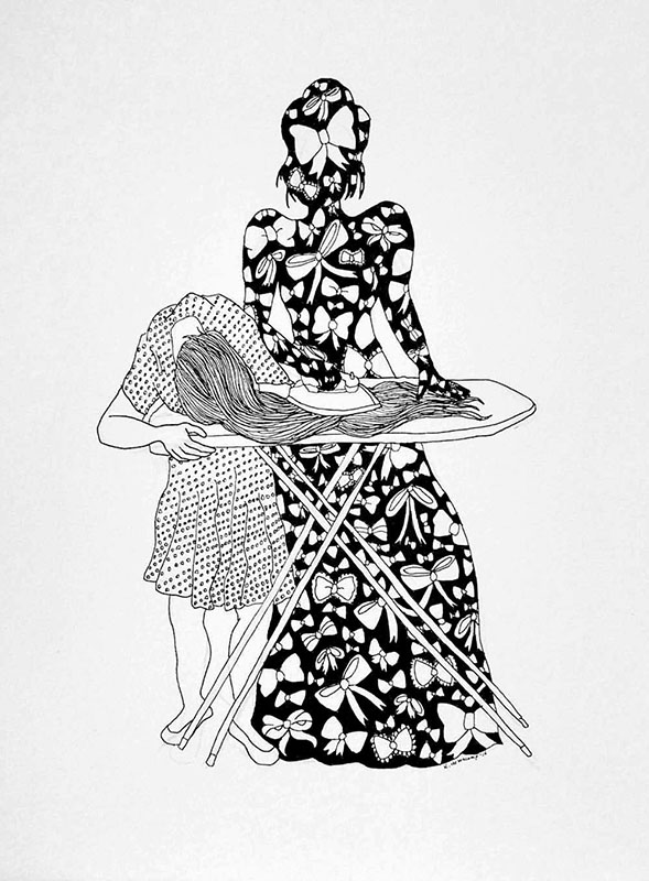 """Katie Hovencamp  – """"Straight"""" pen and ink on paper"""