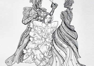 """Katie Hovencamp  – """"Makeover"""" pen and ink on paper"""