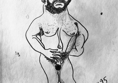"""John Marron – """"Mr. Mini Minotaur Man"""" oil pastel"""