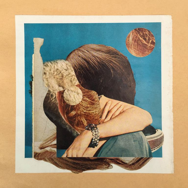 "Curt Harbits – ""Wee Dot"" hand cut printed paper collage mounted on Fabriano paper"