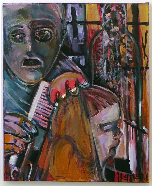 """Steven Epstein –  """"Anxious Grooming"""" acrylic on canvas"""