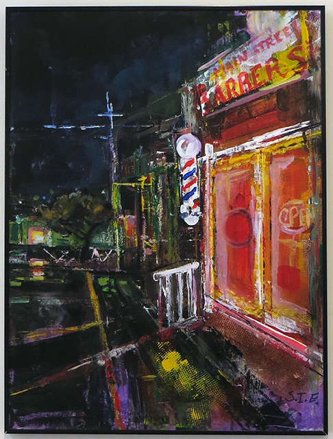 "Steven Epstein –  ""Barber Shop"" mixed media on canvas board"