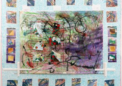 "Peter Arakawa  – ""Bubbles"" mixed media on paper, 26"" x 23"""