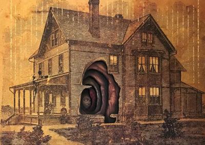 "SOLD – Alex Eckman-Lawn's – ""Housebound"" Cut-paper collage"