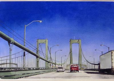 """""""Delaware Memorial Bridge""""  – Watercolor on paper – 42"""" W x 30 1/2"""" H  – $5,000.00"""