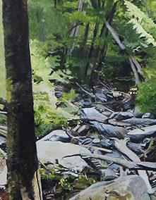 """Kaaterskil Clove""  – Acrylic on canvas –  24"" w x 68"" H  – $5,000.00"