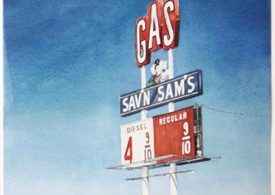 """""""Sav'n Sams""""  – Watercolor on paper –  22"""" W x 28 1/2"""" H  – $2,500.00"""