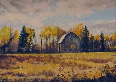 """Canadian Barn"" – Acrylic on canvas – 19"" W x 17"" H $250.00"