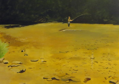 """Fly Fishing"" –  Acrylic  on canvas – 48"" x 48""  – $2,500.00"