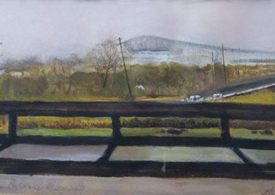 """Study of the Pulaski Skyway""  – Acrylic on paper –  19 1/2"" w x 12 1/2"" H $250.00"