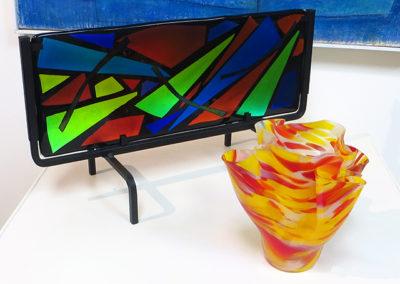"Ellen Rebarber  ""Flowing Energy""  Fused/all dichroic glass"