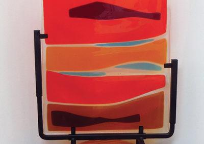 """Ellen Rebarber   """"Landscape""""  Fused glass/and transparent red and orange"""