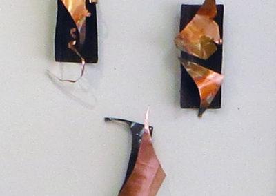 """Ellen Rebarber  """"Jubilant"""" Copper sculpture,  """"Slight Division"""" Copper sculpture,  Ellen Rebarber  """"Lyrical"""" Copper sculpture"""