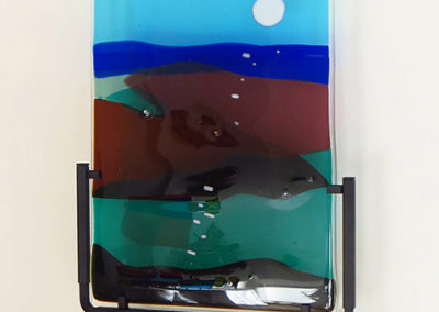 "Ellen Rebarber ""Moon over Maine""  Fused glass in blues and greens"