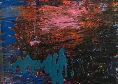 "Rita Herzfeld ""Night Lake""   acrylic on paper"
