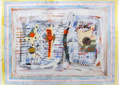 """Peter Arakawa  """"Orange Watch"""" mixed medial on paper"""