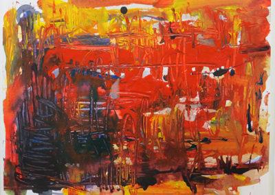 "Rita Herzfeld  ""Red Hot"" acrylic on paper"