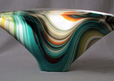 "Ellen Rebarber  ""Swirl Vessel""  Slumped glass in blue orange and cream"