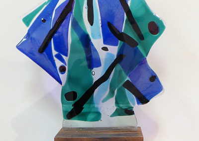 """Sail Away""   fused glass and wood, by Ellen Rebarber"