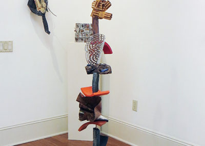 """""""Retrospective Totem""""   stainless steel, ceramic, wood, copper, and glass  by Ellen Rebarber"""