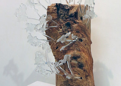 """""""Turbulent Forest""""   fused glass and wood by Ellen Rebarber"""