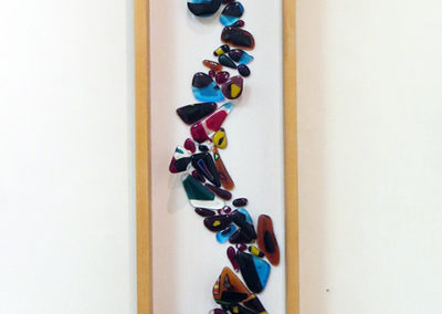 """River of Wonder""   fused glass in wood frame, by Ellen Rebarber"