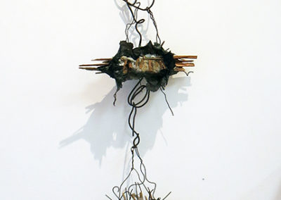 """Hanging Abstract""  mortar, wire paper and found objects, – by Eric Beckerich"