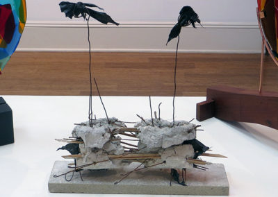 """Sticks"" – mortar, sticks, found objects on marble, by Eric Beckerich"