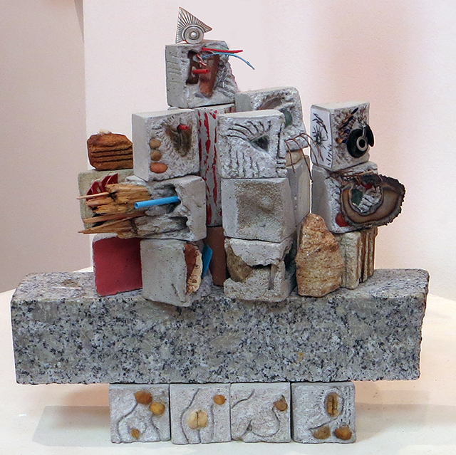 """""""At the Opening"""" mortar and found objects,  by Eric Beckerich"""