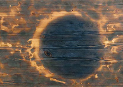 """Brian McCormack """"Lunar Eclipse-1"""" Pyro drawing on found furniture panel"""