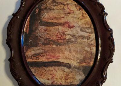 "Kelly Clark ""Fat"" found ceramic, glaze and collage"
