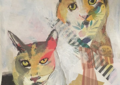 "Lesa Mellman ""Lulu and Thelma"" mixed media on paper"