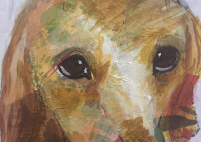 "Lesa Mellman ""As a Puppy"" mixed media on artist board"