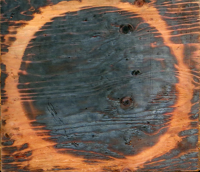 """Brian McCormack """"Lunar Eclipse-2"""" pyro drawing on plywood"""