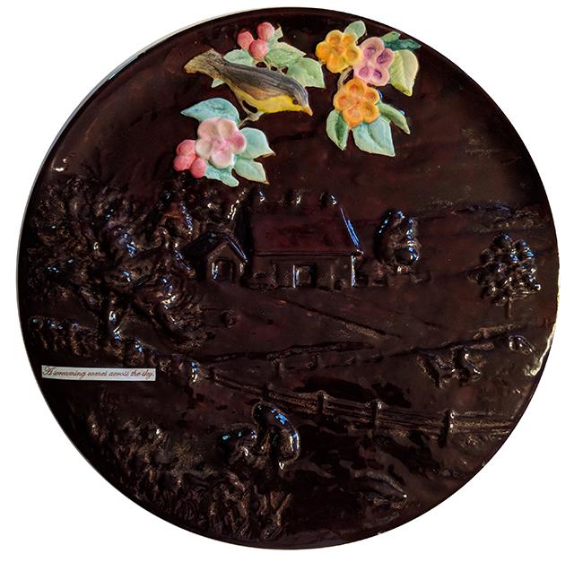"Kelly Clark ""Across the Sky"" found ceramic, glaze and collage"