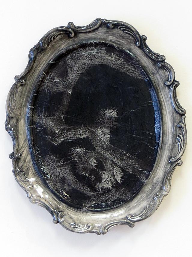 "Kelly Clark ""Night"" found ceramic, glaze and collage"