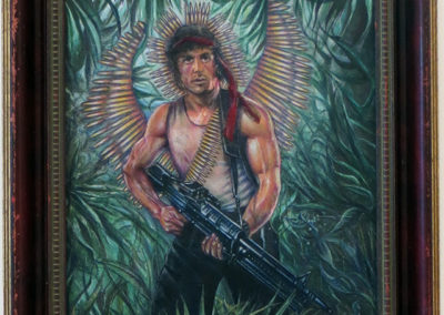 "Joan Sonnenfeld ""Saint Rambo of the Palms"" collage, acrylic and colored pencil on canvas"