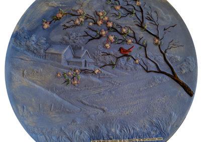 "Kelly Clark ""The Sun Shone"" found ceramic, glaze and collage"