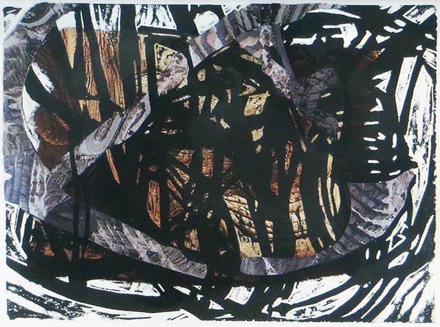 """Kelly Clark """"Untitled"""" chine colle monotype"""