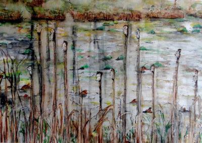 "Virginia Carroll  ""Swamp Reeds"" watercolor on paper"