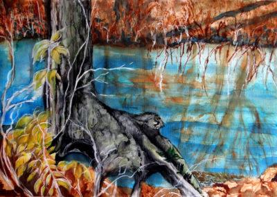 "Virginia Carroll ""Tree Root in Swamp"" watercolor on paper"
