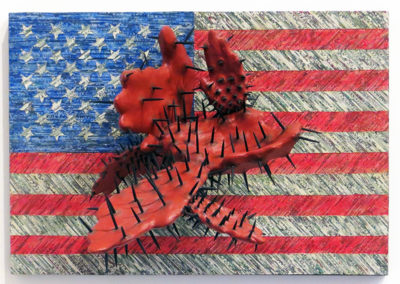 """George Lorio """"Deal Maker"""" shredded US currency, paint, carved wood, nails, on panel  $3,200.00"""